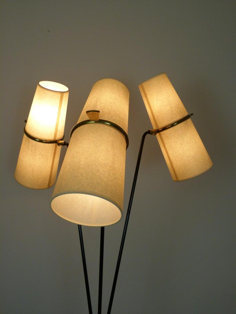 1950s Triple Lighting Floor Lamp by Maison Lunel For Sale 9