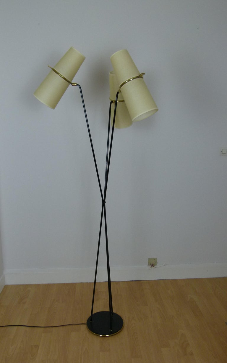 1950s Triple Lighting Floor Lamp by Maison Lunel In Excellent Condition For Sale In Saint-Ouen, FR