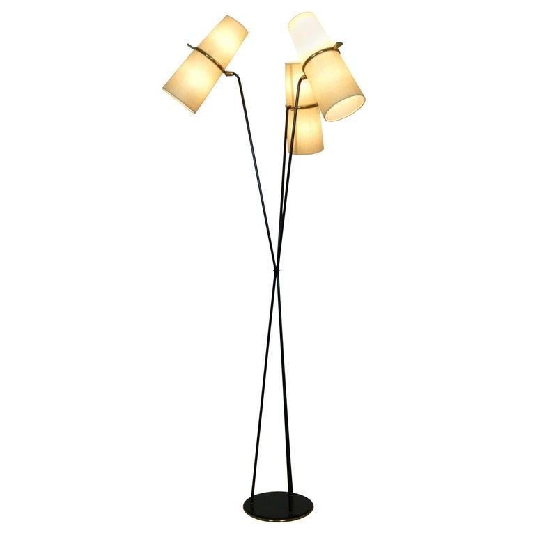 1950s Triple Lighting Floor Lamp by Maison Lunel For Sale
