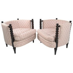 1950s Turned Wood and Tufted Fabric Upholstery Barrel Chairs, Club Chairs, Pair
