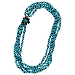 1950s Turquoise and Black Bead Torsade Necklace
