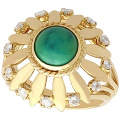 1950s Turquoise and Diamond Yellow Gold Cocktail Ring