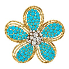 1950s Turquoise and Gold Flower Brooch/Pendant with Diamond Center