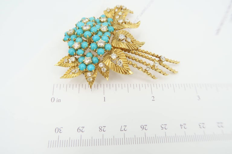 Women's 1950s Turquoise Diamond Gold Flower Bouquet Brooch and Leaf Clip on Earrings Set For Sale