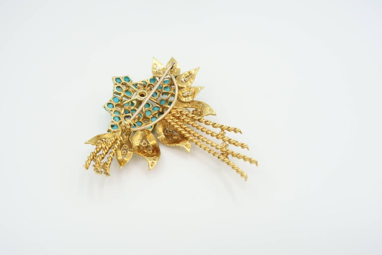 1950s Turquoise Diamond Gold Flower Bouquet Brooch and Leaf Clip on Earrings Set For Sale 1