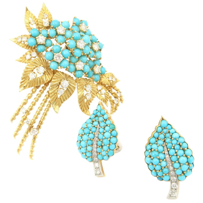 1950s Turquoise Diamond Gold Flower Bouquet Brooch and Leaf Clip on Earrings Set For Sale