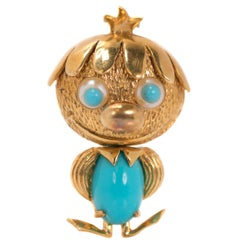 1950s Turquoise, Pearl, 18 Karat Yellow Gold Brooch