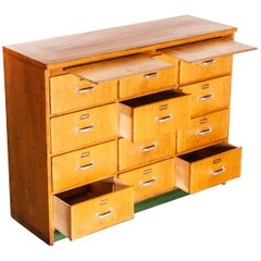 1950s Twelve-Drawer Original Oak Apothecary Cabinet, Chest of Drawers, German
