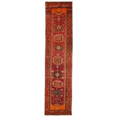 1950s Twin Antique Persian Rug with Gemstone Design Handwoven Karabagh Style