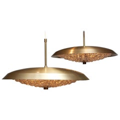 1950s Two Brass and Glass Ceiling Lamps Designed by Carl Fagerlund for Orrefors