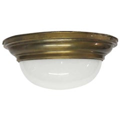 1950s Two-Light Milk Glass Dome Light Flush Mount Fixture with Brass Rim
