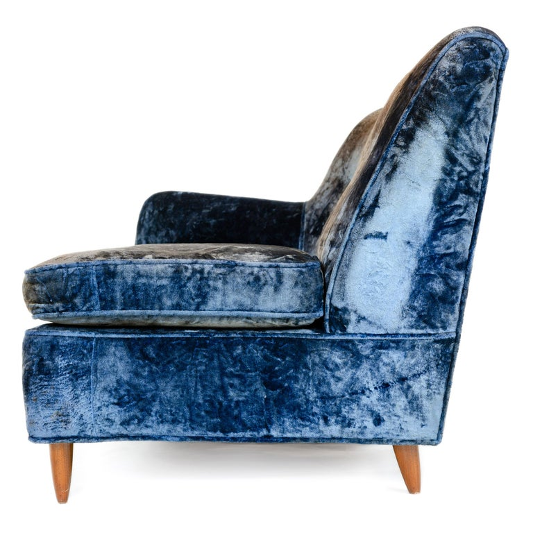 Mid-20th Century 1950s Two-Piece Velvet Sofa in the Style of Gio Ponti For Sale