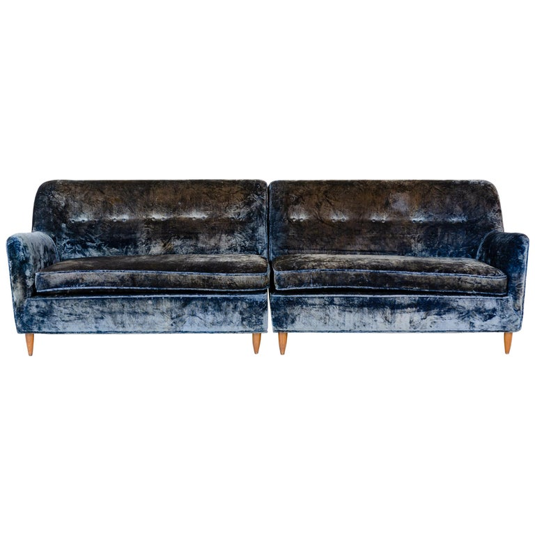 1950s Two-Piece Velvet Sofa in the Style of Gio Ponti For Sale