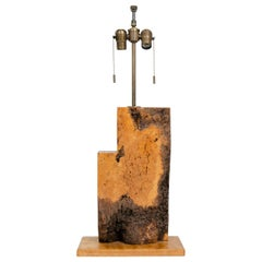 1950s Unattributed American Craftsman Burled Wood Slab Table Lamp