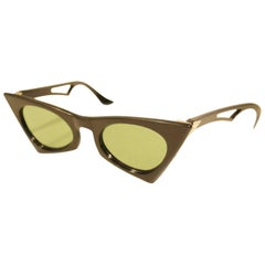 1950s United States Black Cateye Sunglasses with Green Lens