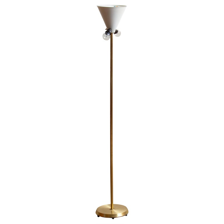 Swedish 1950s, Up-Light Floor Lamp in Brass and Metal by Fagerhults Belysning, Sweden