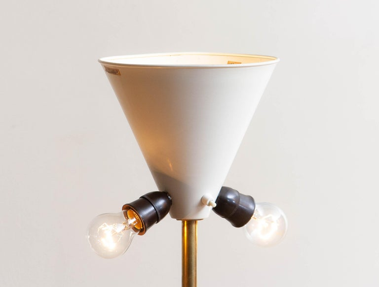 1950s, Up-Light Floor Lamp in Brass and Metal by Fagerhults Belysning, Sweden In Good Condition In Silvolde, Gelderland