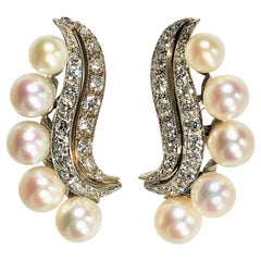 Classic 1950's Up Swept Diamond and Pearl Cocktail Earrings