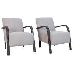 1950s Upholstered Czech Armchairs, a Pair