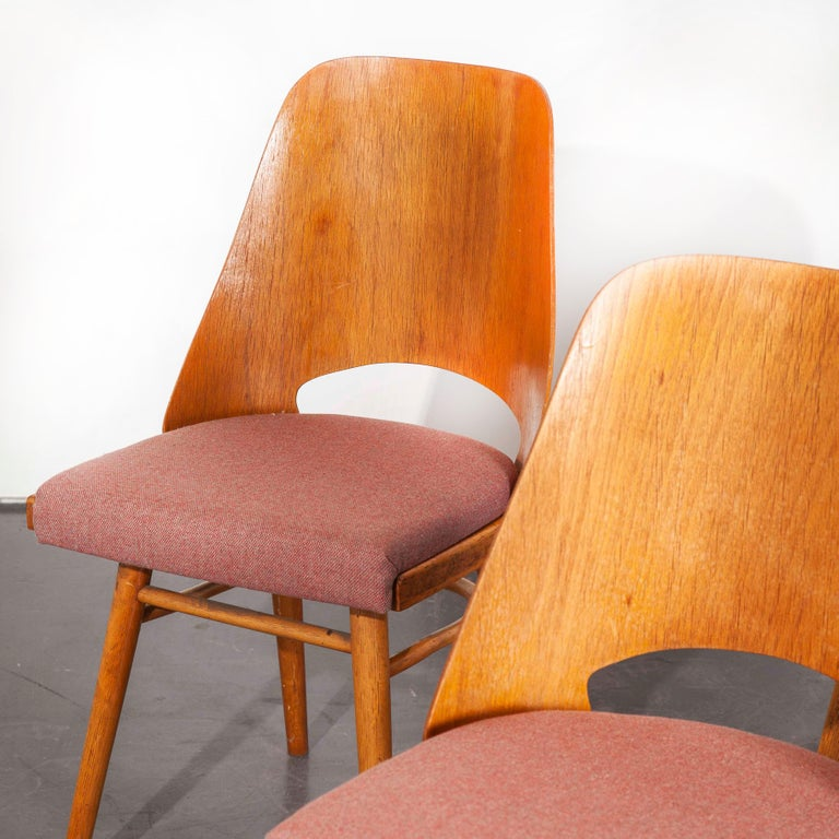 Czech 1950s Upholstered Thon Dining Chairs, Radomir Hoffman, Set of Four For Sale
