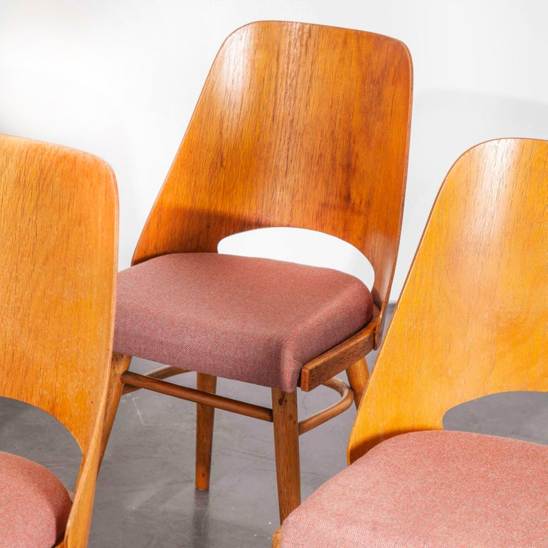 1950s Upholstered Thon Dining Chairs, Radomir Hoffman, Set of Four In Good Condition For Sale In Hook, Hampshire