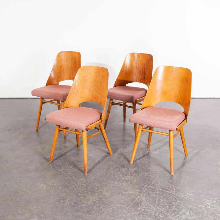 Foam 1950s Upholstered Thon Dining Chairs, Radomir Hoffman, Set of Four For Sale