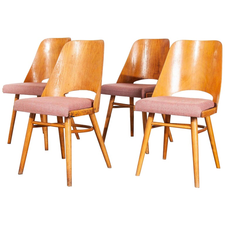 1950s Upholstered Thon Dining Chairs, Radomir Hoffman, Set of Four For Sale
