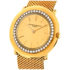 1950s Vacheron & Constantin Diamond 18 Karat Gold Textured Watch