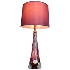 1950s Val St Lambert Purple Table Lamp