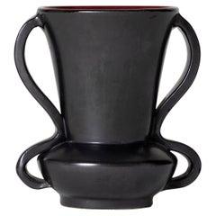1950s Vallauris Black Ceramic Vase