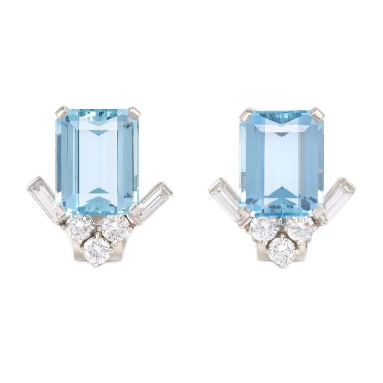 1950s Van Cleef Arpels Aquamarine And Diamond Clip Earrings For