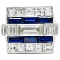1950s Van Cleef & Arpels 6.59 Carat Diamond Sapphire Platinum Unisex Ring