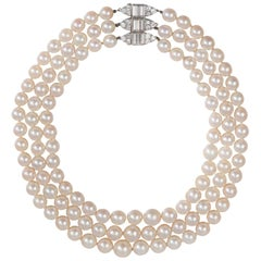 1950s Van Cleef & Arpels Diamond and Cultured Pearl Three-Row Necklace