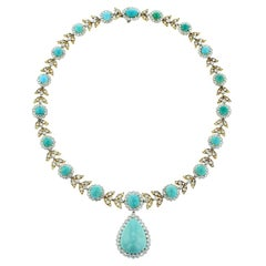 1950s Van Cleef & Arpels Turquoise and Diamond Yellow Gold and Platinum Necklace