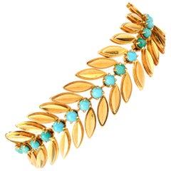 1950s Van Cleef & Arpels Turquoise Leaf 18 Karat Bracelet