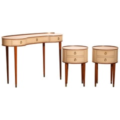 1950s Vanity Dressing Table and Two Bedside Tables in Mahogany by Tibro, Sweden