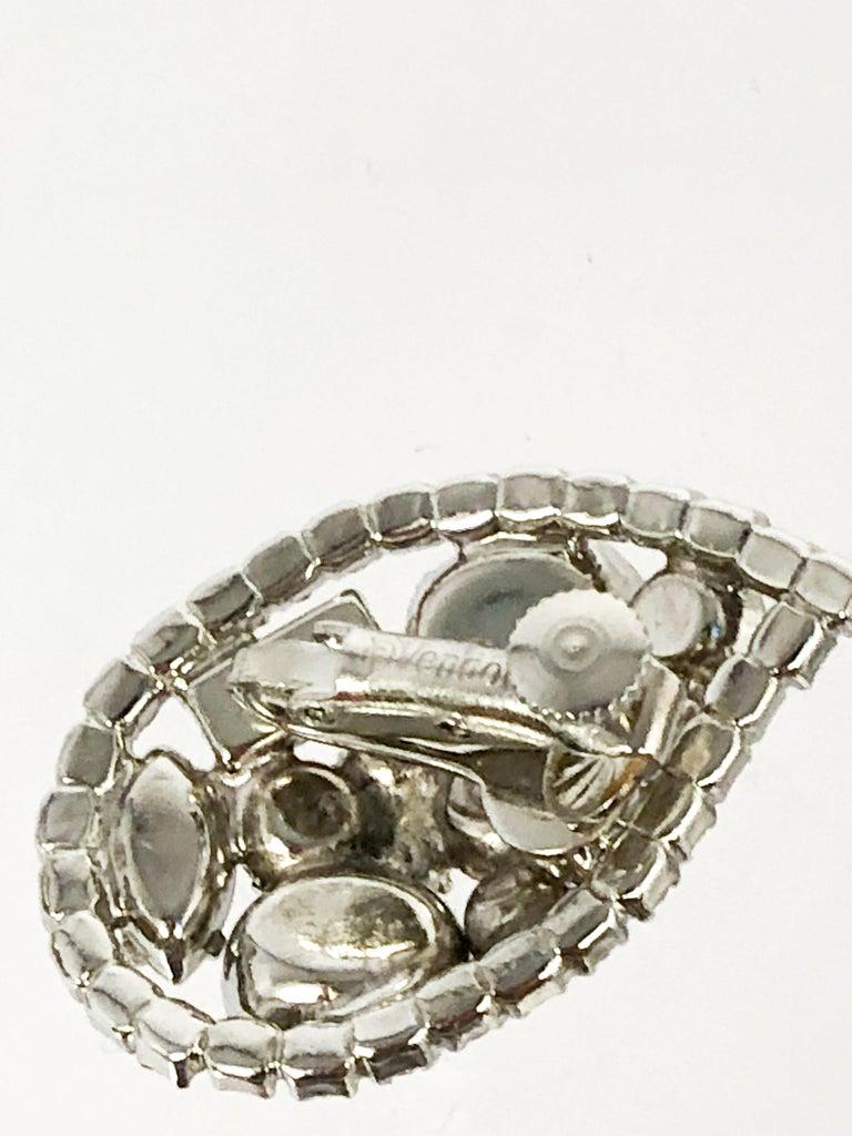 Women's or Men's 1950s Vendome Teardrop Rhinestone Earrings For Sale