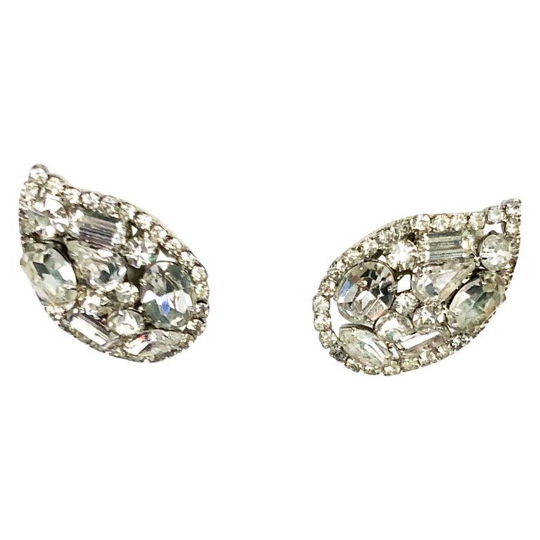 1950s Vendome Teardrop Rhinestone Earrings For Sale