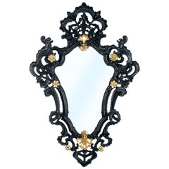 1950s Venetian Rococò Style Wall Mirror in Carved Wood Black and Gold Laquered
