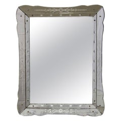 1950s Venetian Style Etched Wall Mirror with Floral Details