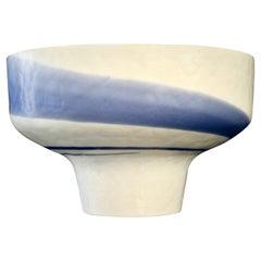 1950s Venini Vintage Italian Blue & Cream White Pate de Verre Murano Glass Bowl