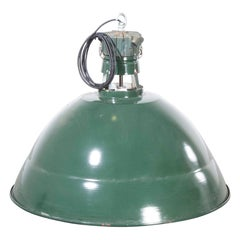 1950s Very Large Industrial Green French Enamel Ceiling Pendant Lamps/Light