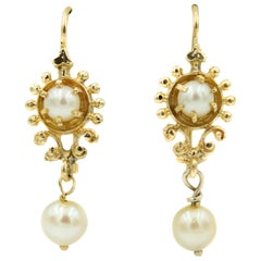 1950s Victorian Revival Pearl Yellow Gold Drop Earrings