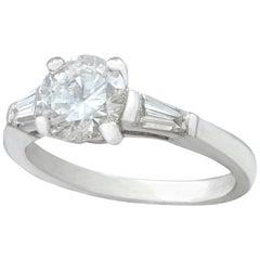 1950s Vintage 1.32 Carat Diamond and Platinum Solitaire Ring