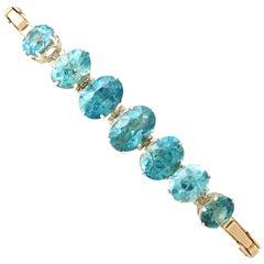 1950s Vintage 19.56 Carat Blue Zircon Yellow Gold and White Gold Set Bracelet