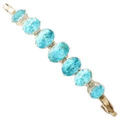 1950s Vintage 19.56Ct Oval Cut Blue Zircon Yellow Gold Bracelet