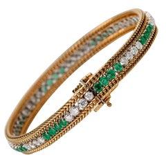 1950s Vintage 2 Carat Diamond and 2 Carat Emerald Bracelet, 18 Karat Gold