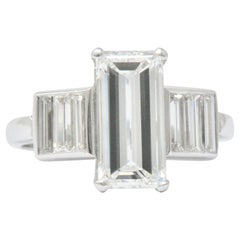 1950s Vintage 3.35 Carat Emerald Cut Diamond Platinum Engagement Ring GIA
