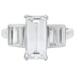 1950s Vintage 3.35 Carat Emerald Cut Diamond Platinum Engagement Ring GIA