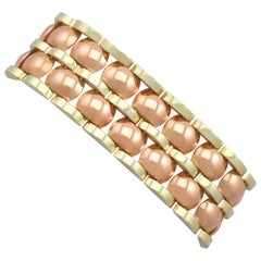 1950s Vintage Art Deco Style Rose Gold and Yellow Gold Bracelet